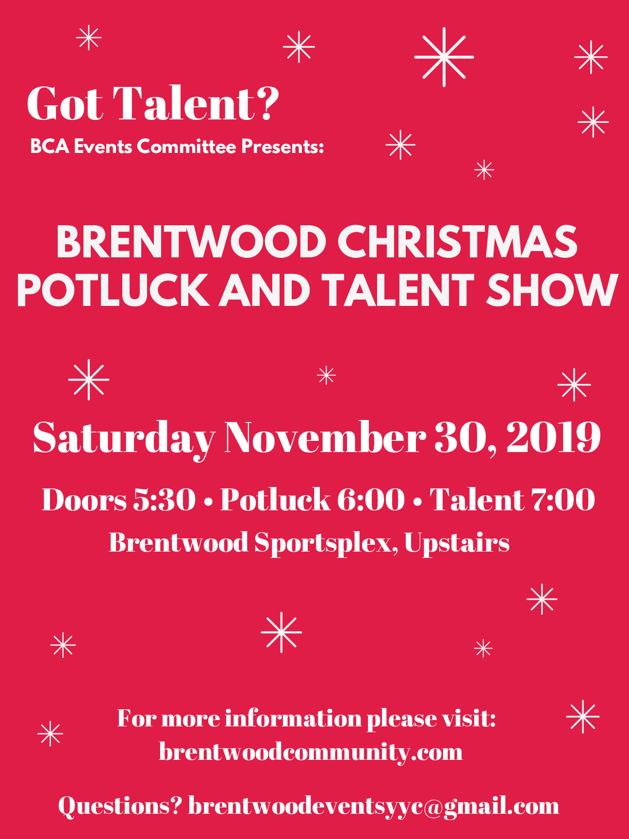 BCA Christmas Potluck and Talent Show
